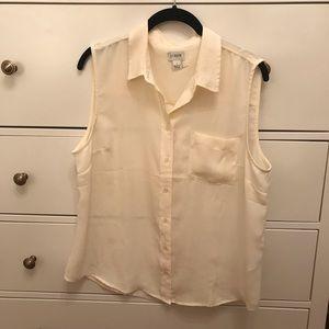 Cream J Crew sleeveless blouse